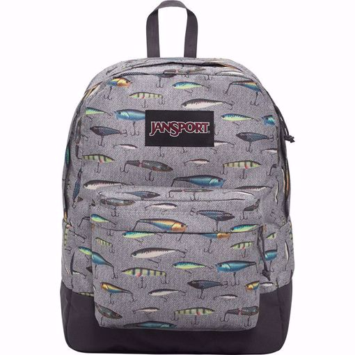 JanSport Black Label Superbreak, Backpack, Multi Fishing Lures