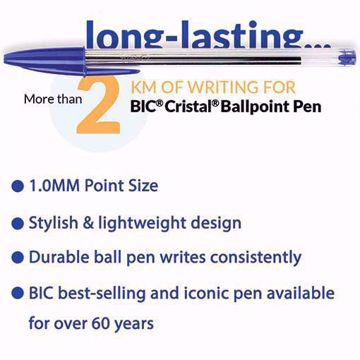 BIC CRISTAL PENS MEDIUM - 1.0MM IN BLACK BLUE BALLPOINT PENS BIROS PEN