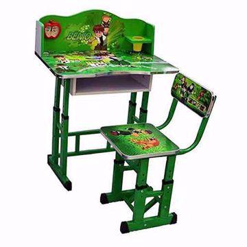 طاولة أطفال مع كرسي قاعدة خشب صوربن تن لون اخضر