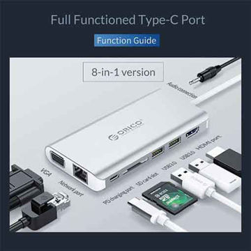ORICO Type-C to 8-in-1 Multifunction Docking Station