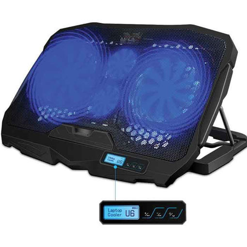 Laptop Cooling Pad Blue LED Lights 1.68LB S-18 for 10-15.6 PC