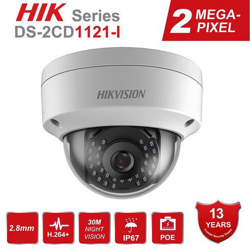 Picture of HIKVISION DS-2CD1121-I 2.0 MP CMOS Network Dome Camera (IP67 IK10 PoE 30m IR 3D DNR Digital WDR Motion Detection Dual Stream Remote Access)