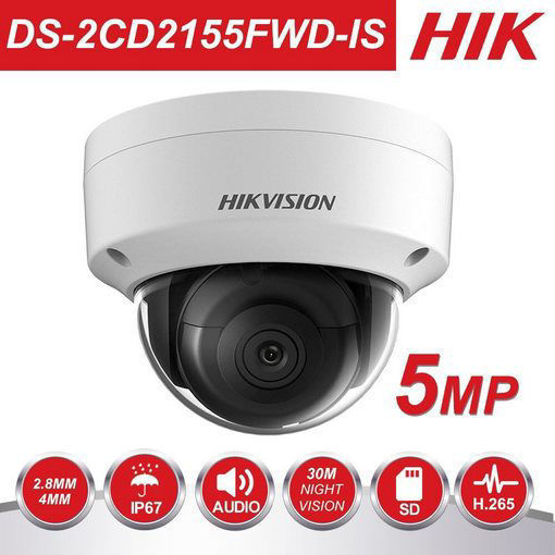 Picture of Hikvision 5MP Camera DS-2CD2155FWD-I 8mm Mini IR Network Dome Camera 3-axis Night Version IP67 ONVIF H.265 IP Camera