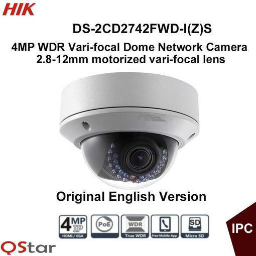 Picture of Hikvision DS-2CD2742FWD-IZS 4MP 2.8 - 12 mm Motorized Lens Vandal Resistant IR Dome CCTV Network Camera