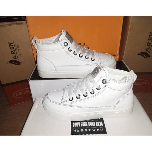 White leather lace-up sport shoes l من هب له . كوم
