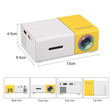 QVGA Projector LED YG300 400lm Brightness With Remote Control White / Yellow من هب له .كوم